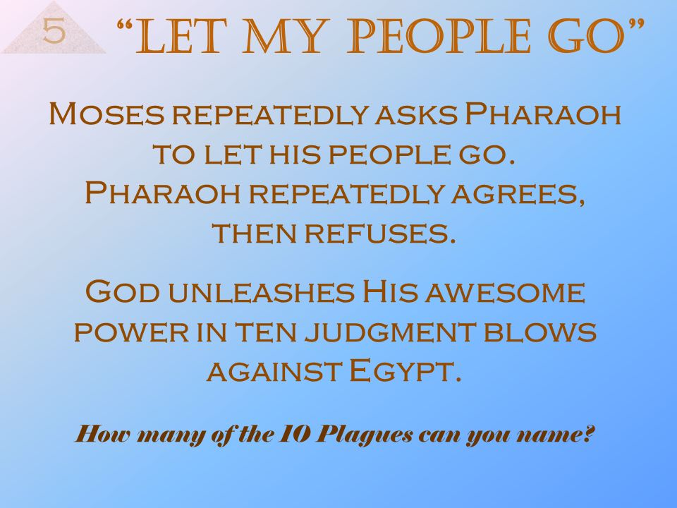 God unleashes His awesome power in ten judgment blows against Egypt.
