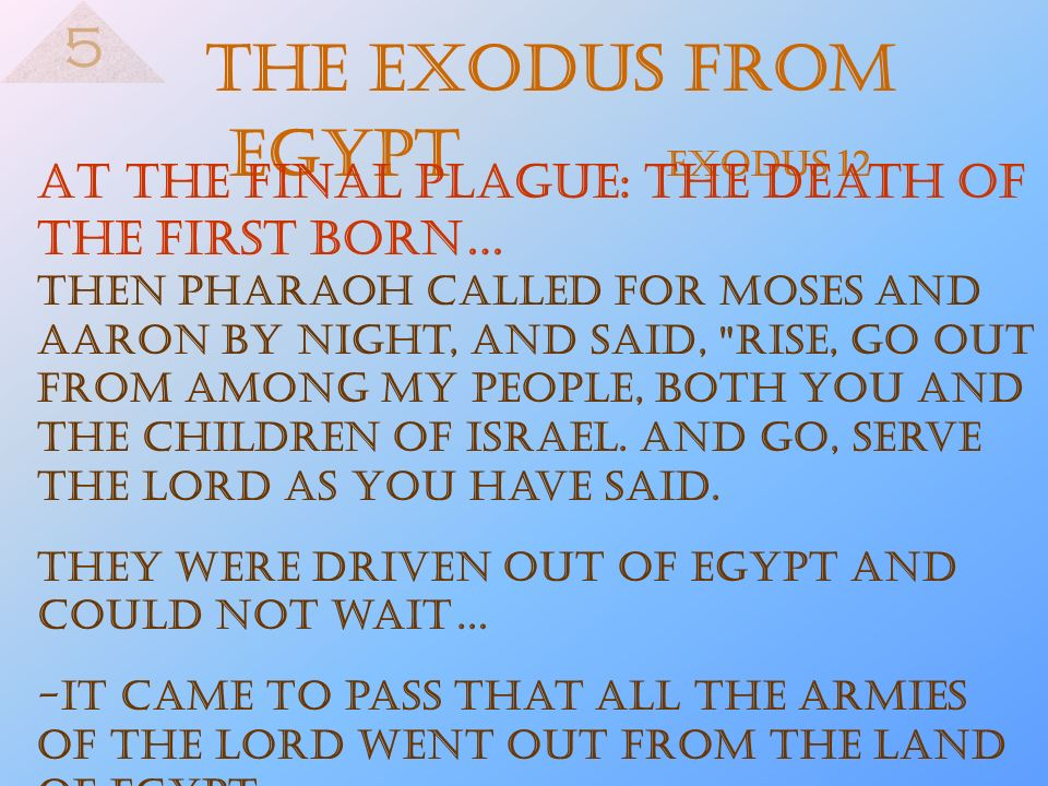 The Exodus from Egypt Exodus 12