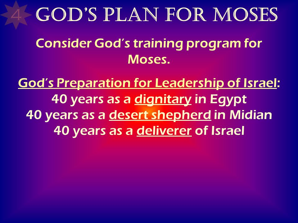 Consider God's training program for Moses.