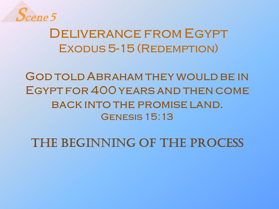 Scene 5 Deliverance from Egypt Exodus 5-15 (Redemption)