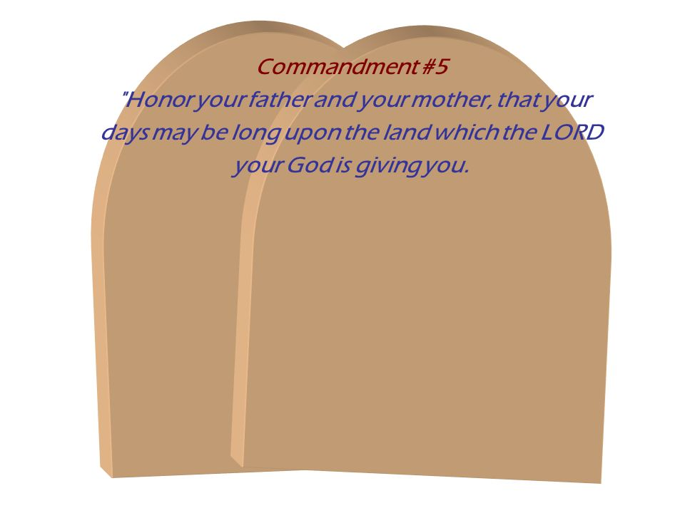 Commandment #5 Honor your father and your mother, that your days may be long upon the land which the LORD your God is giving you.