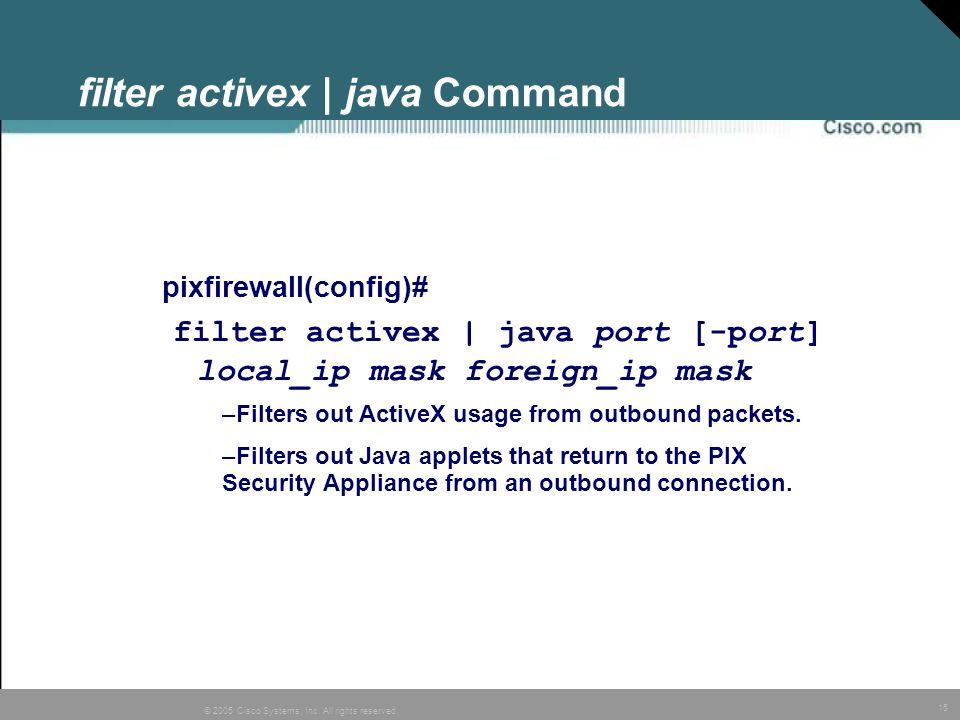 filter activex | java Command