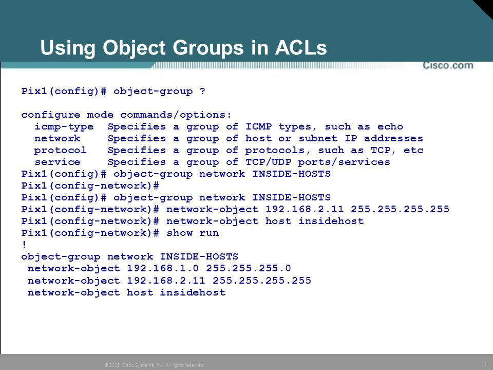 Using Object Groups in ACLs