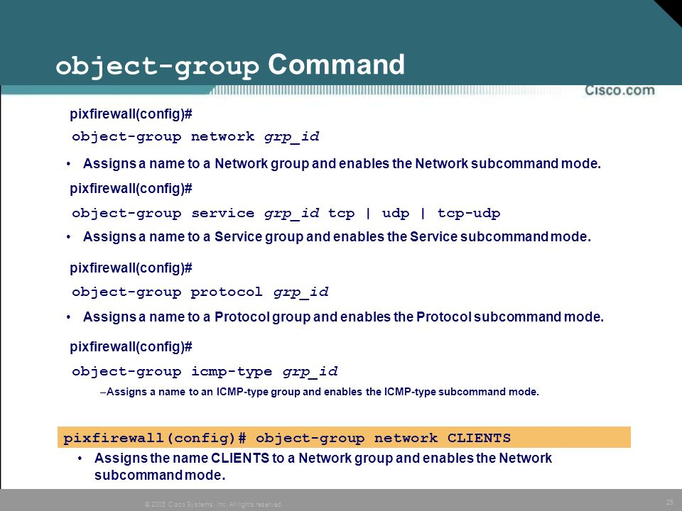 object-group Command object-group network grp_id