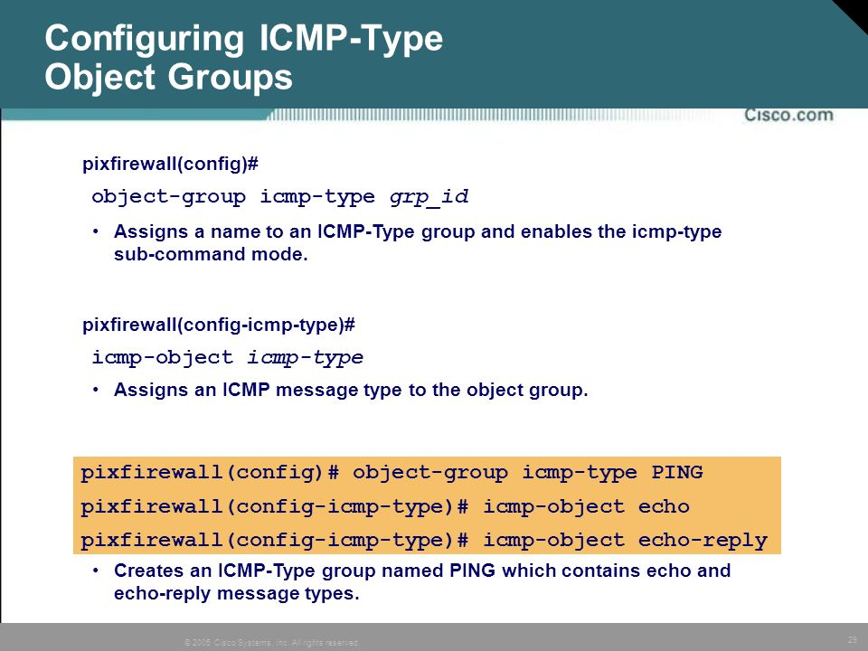 Configuring ICMP-Type Object Groups