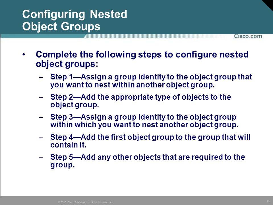 Configuring Nested Object Groups