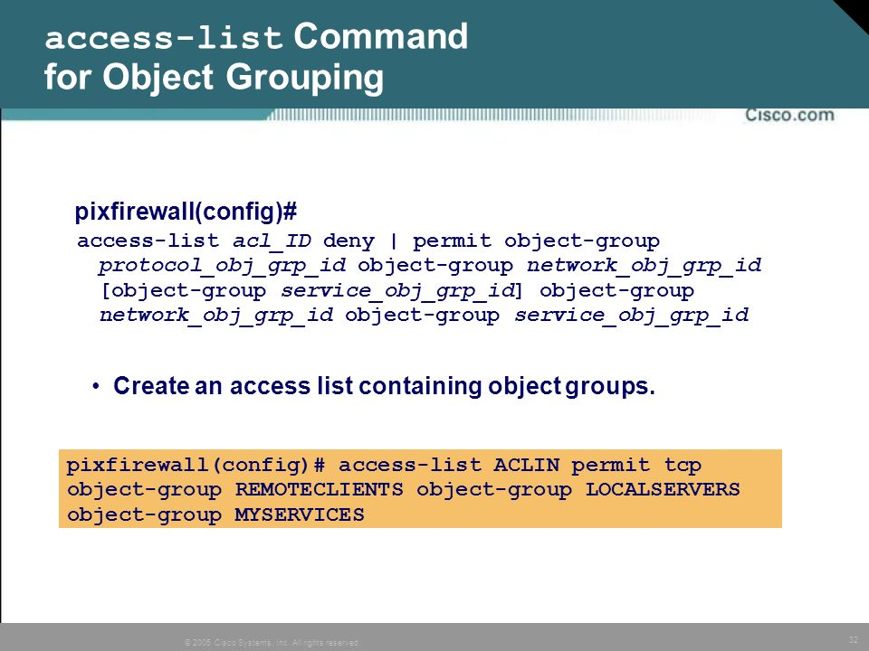 access-list Command for Object Grouping