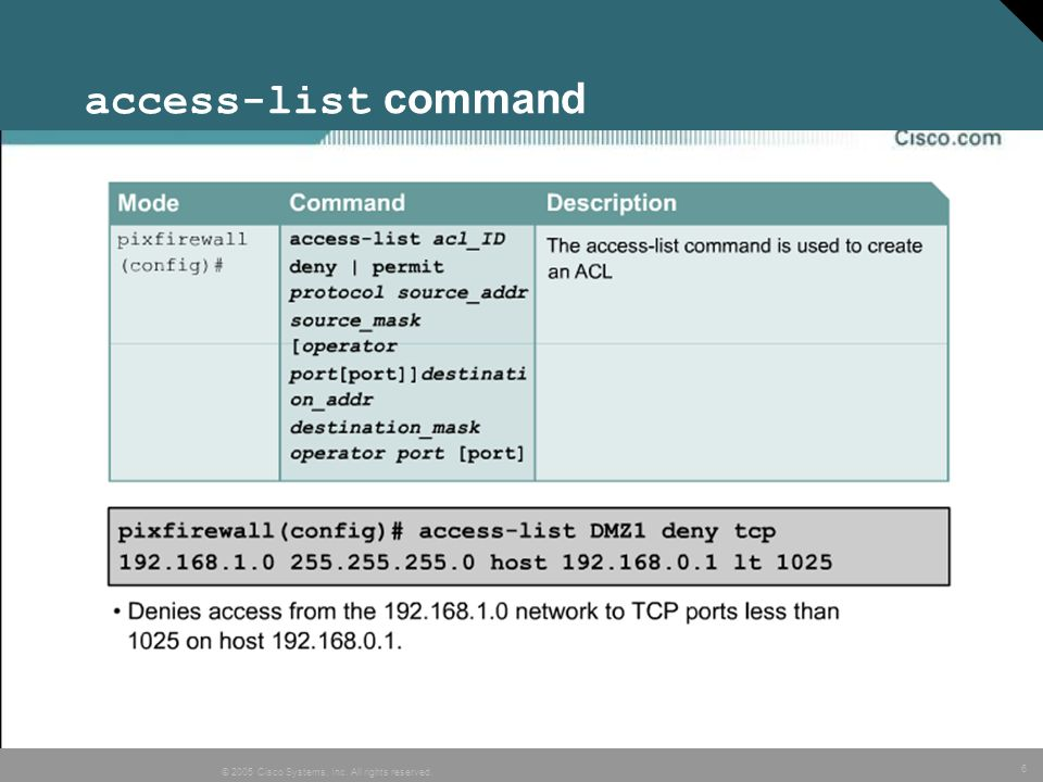 access-list command
