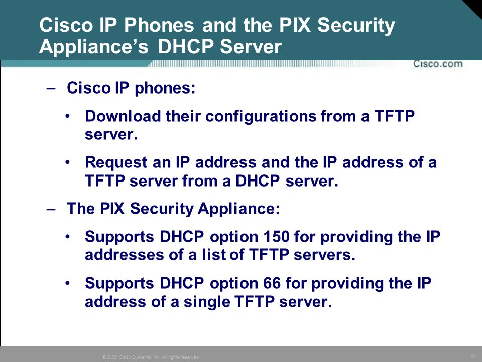 Cisco IP Phones and the PIX Security Appliance's DHCP Server