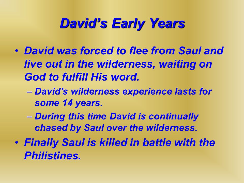 David's Early Years David was forced to flee from Saul and live out in the wilderness, waiting on God to fulfill His word.