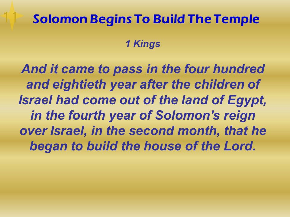 Solomon Begins To Build The Temple