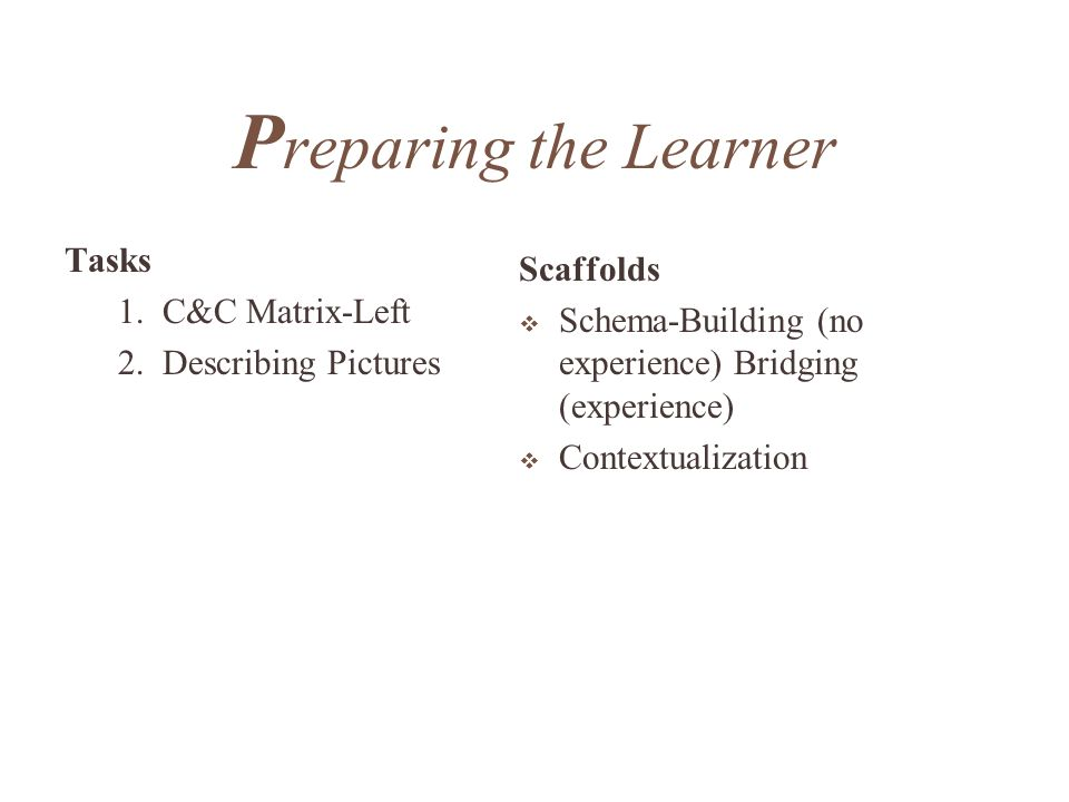 Preparing the Learner Tasks Scaffolds 1. C&C Matrix-Left