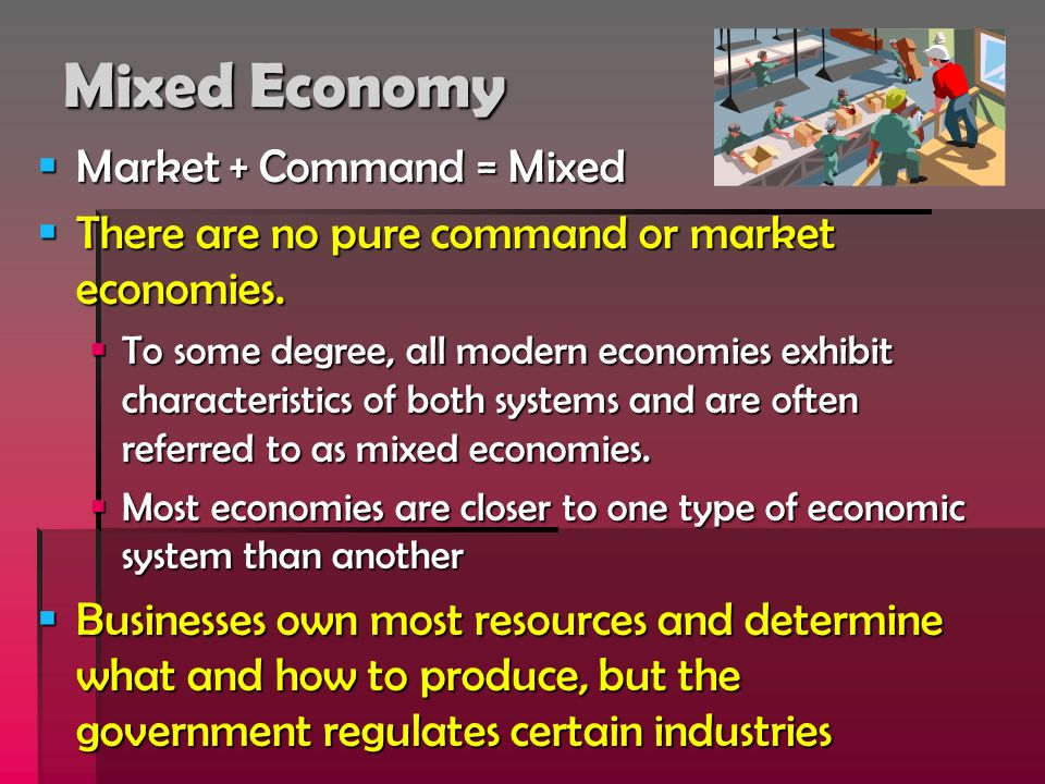 Mixed Economy Market + Command = Mixed