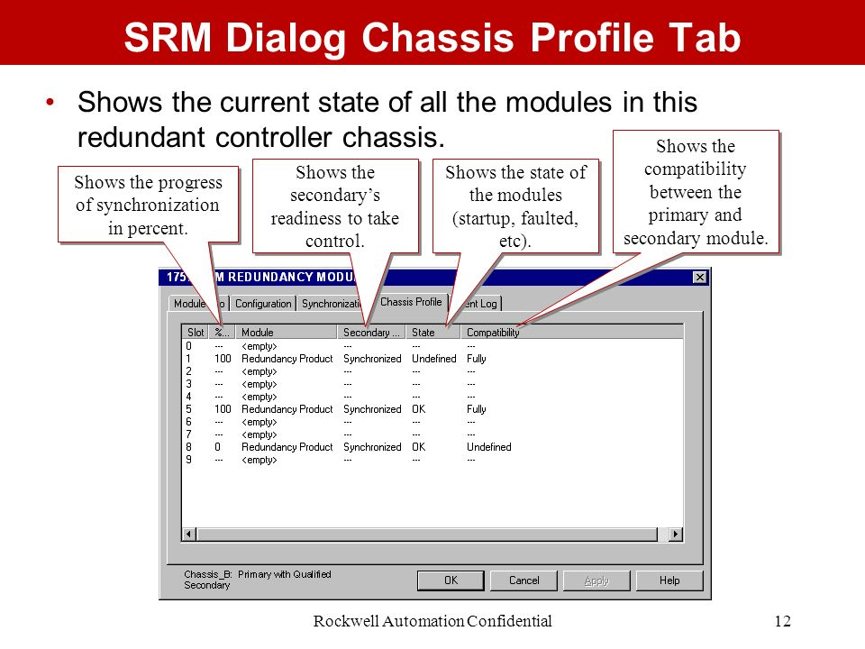 SRM Dialog Chassis Profile Tab