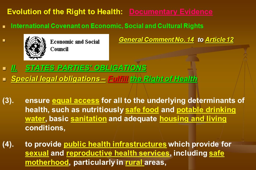 Evolution of the Right to Health: Documentary Evidence