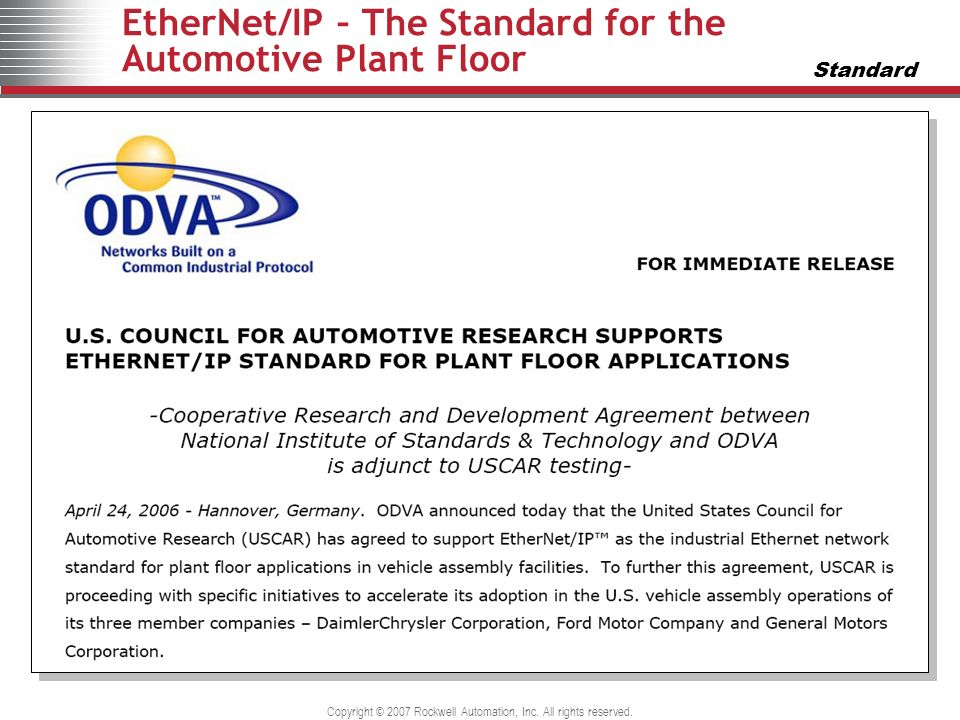 EtherNet/IP – The Standard for the Automotive Plant Floor