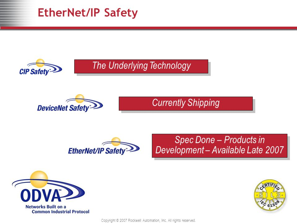 EtherNet/IP Safety The Underlying Technology Currently Shipping