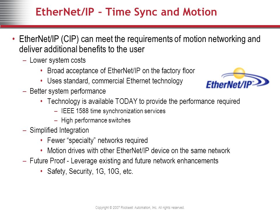 EtherNet/IP – Time Sync and Motion