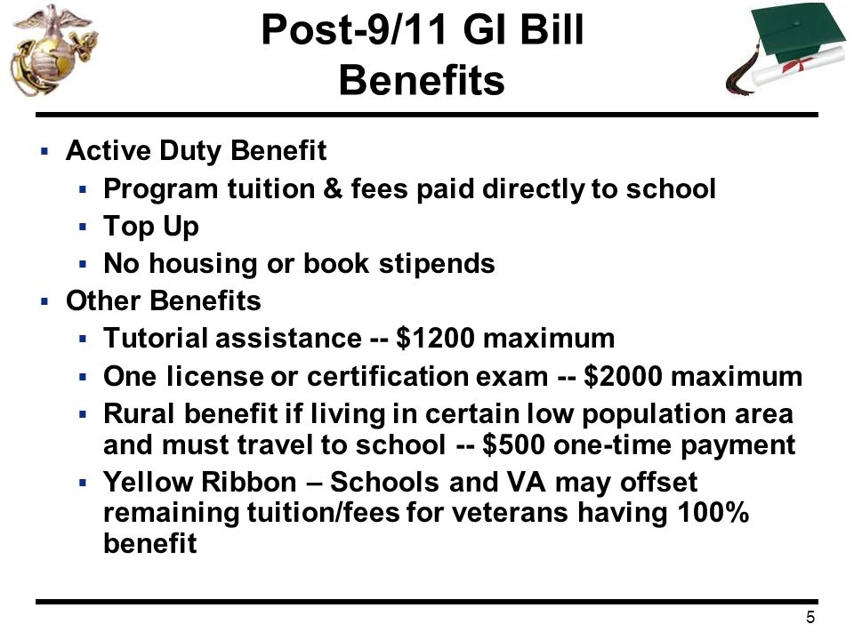 Post-9/11 GI Bill Eligibility Benefit payments Transfer to ...
