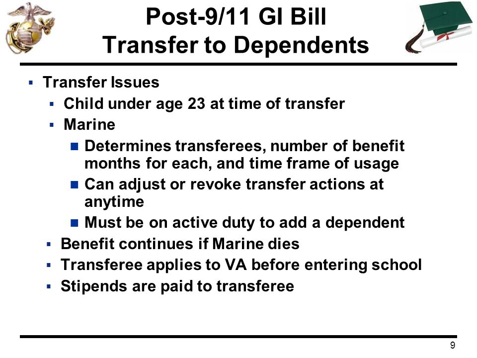 Post 911 Gi Bill Eligibility Benefit Payments Transfer To