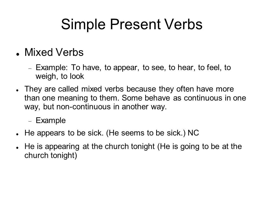 Simple Present Verbs Mixed Verbs