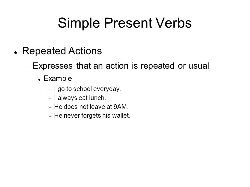 Simple Present Verbs Repeated Actions