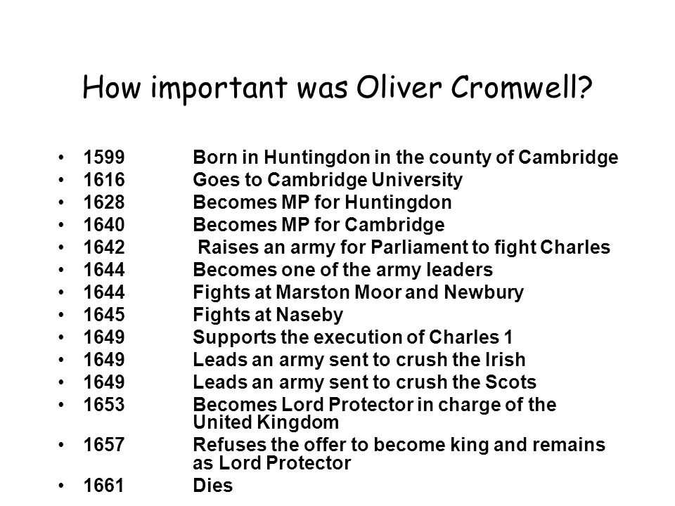 How important was Oliver Cromwell