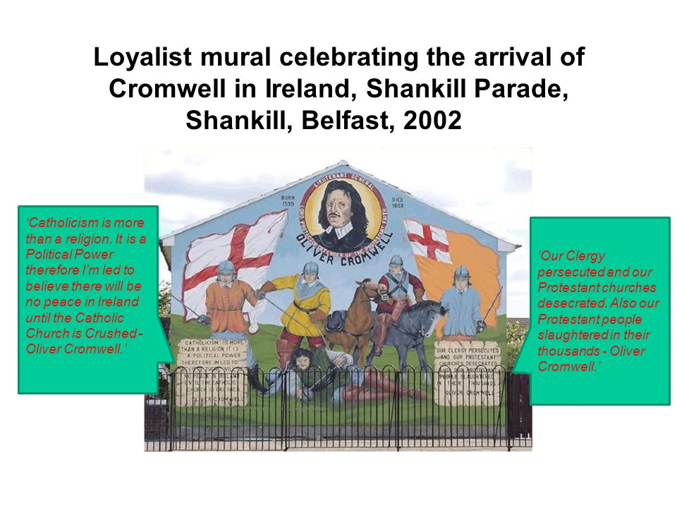 Loyalist mural celebrating the arrival of Cromwell in Ireland, Shankill Parade, Shankill, Belfast, 2002