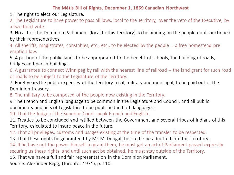 The Métis Bill of Rights, December 1, 1869 Canadian Northwest