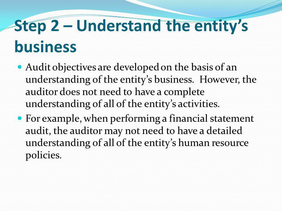 Step 2 – Understand the entity's business