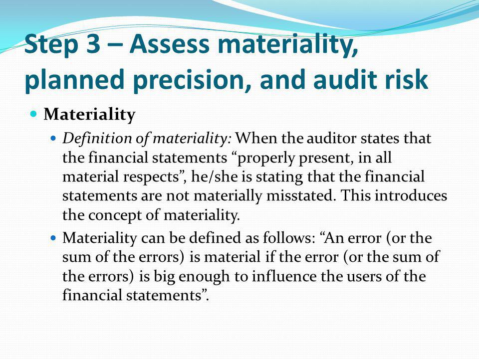 Step 3 – Assess materiality, planned precision, and audit risk