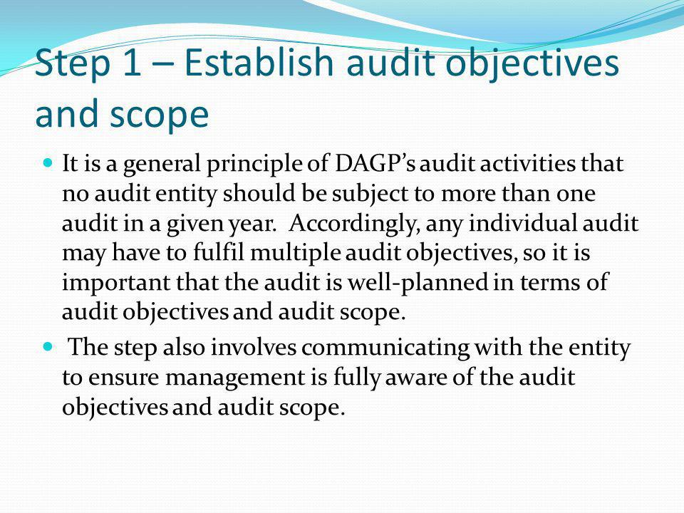 Step 1 – Establish audit objectives and scope