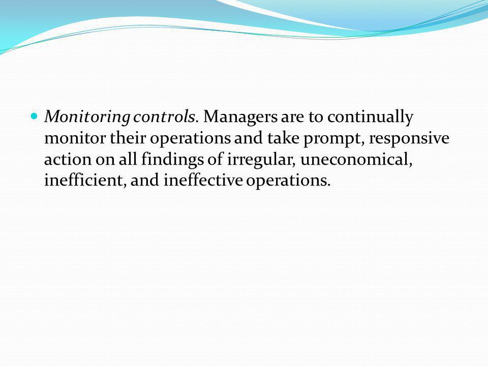 Monitoring controls.