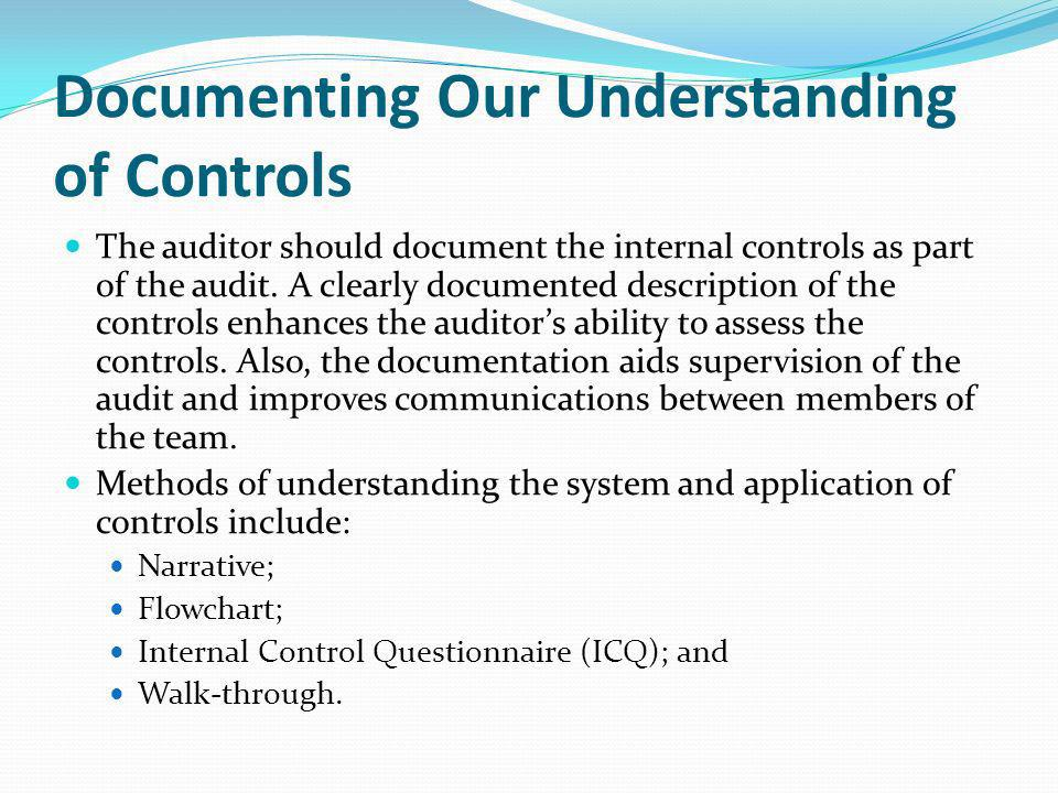 Documenting Our Understanding of Controls