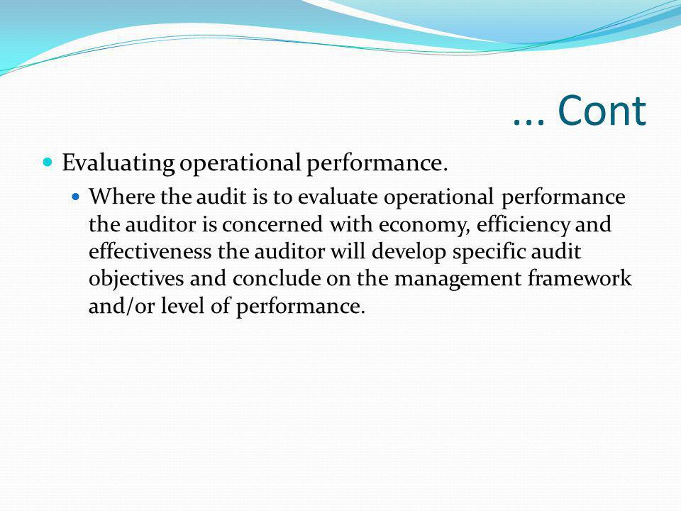 ... Cont Evaluating operational performance.
