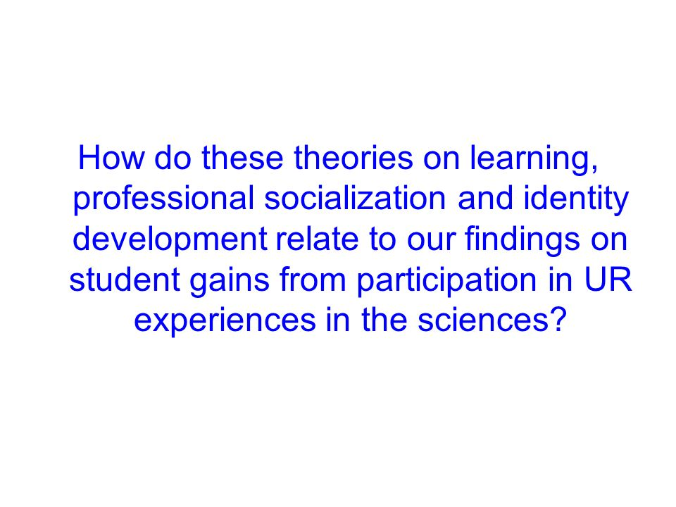 How do these theories on learning, professional socialization and identity development relate to our findings on student gains from participation in UR experiences in the sciences