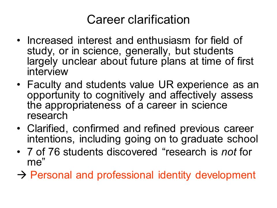 Career clarification
