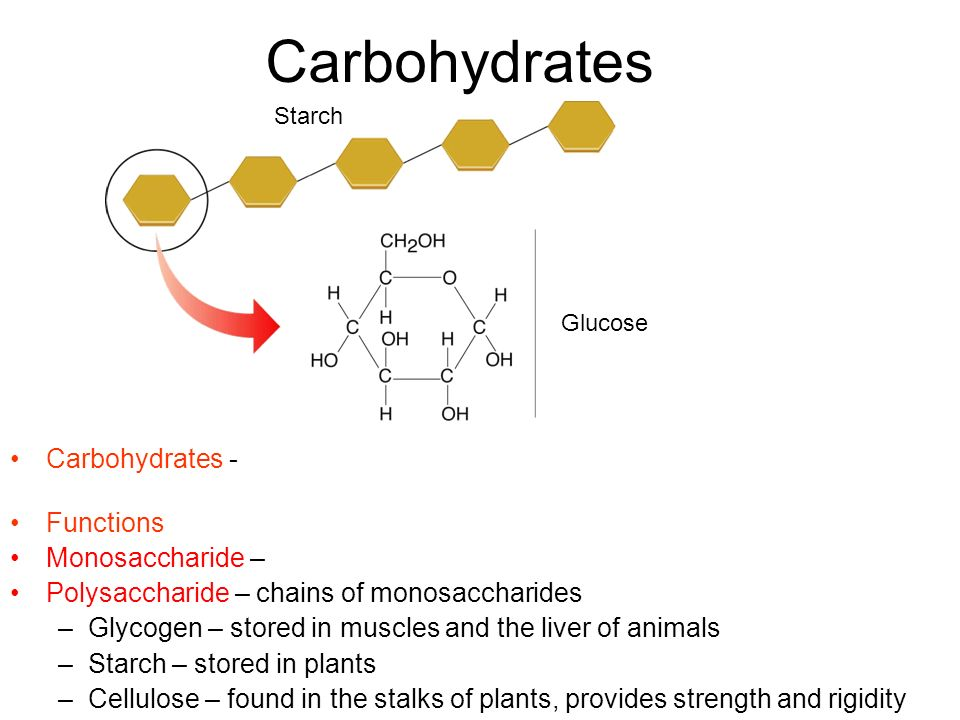 Carbohydrates Starch. Glucose. Carbohydrates - compounds made up of carbon, hydrogen, and oxygen atoms usually in a ratio of 1:2:1.