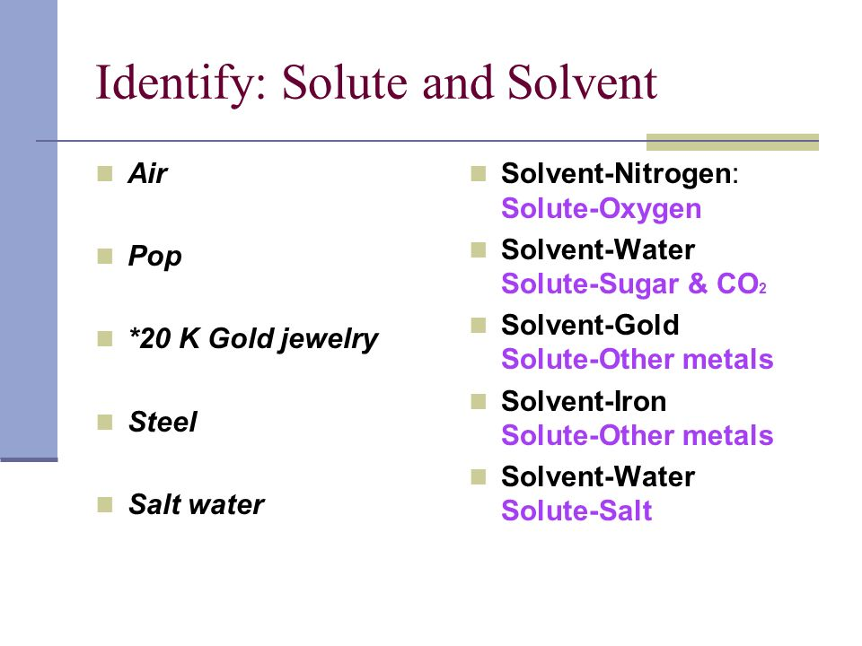 Identify: Solute and Solvent