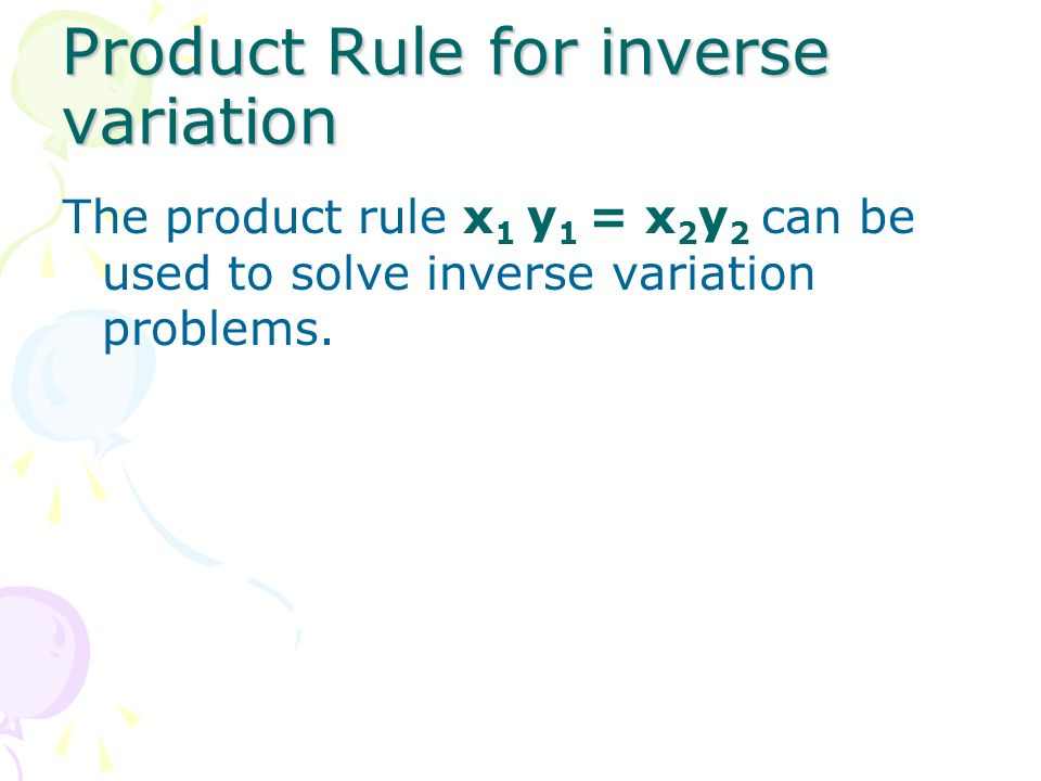 Product Rule for inverse variation