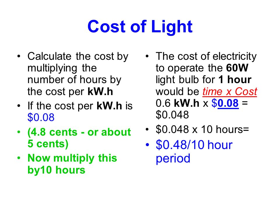 Cost of Light $0.48/10 hour period
