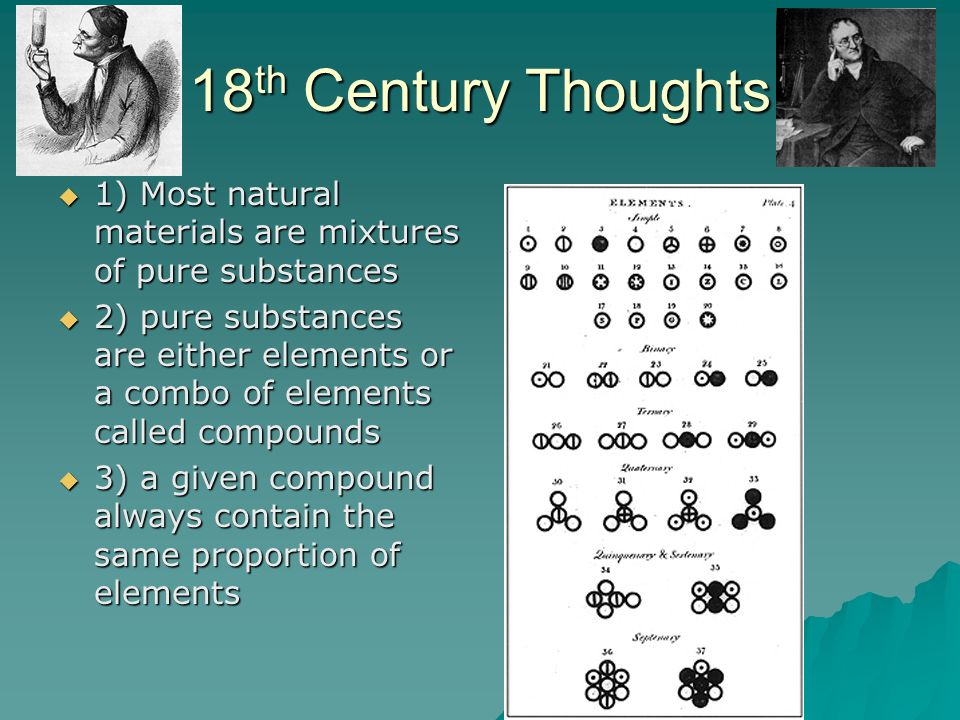 18th Century Thoughts 1) Most natural materials are mixtures of pure substances.