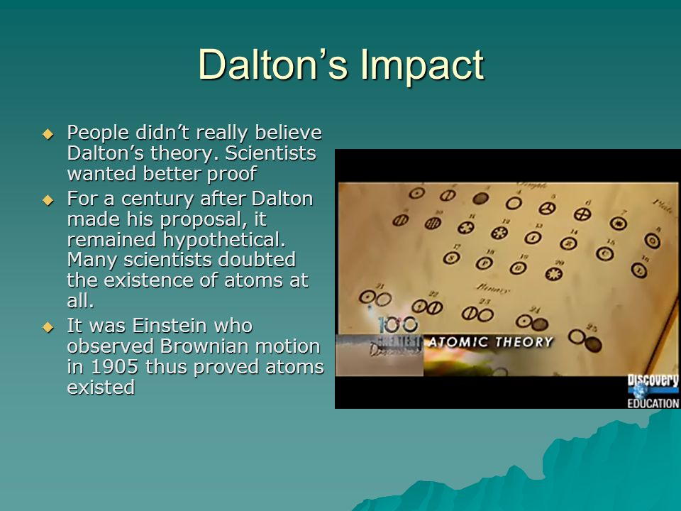 Dalton's Impact People didn't really believe Dalton's theory. Scientists wanted better proof.