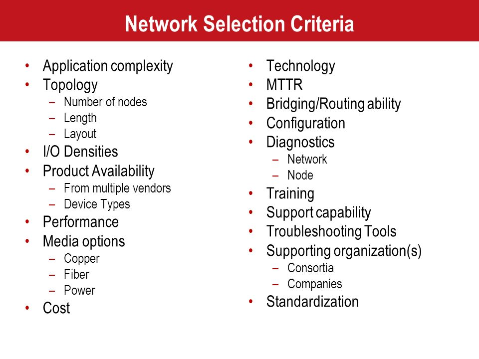 Network Selection Criteria