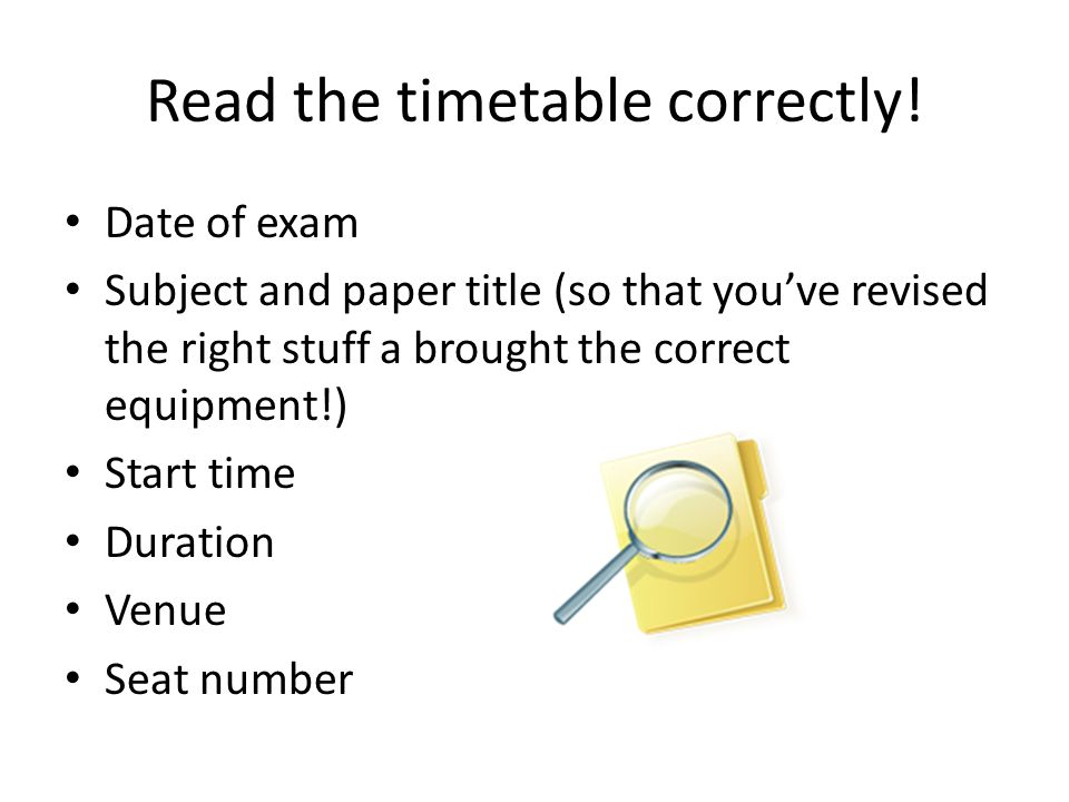 Read the timetable correctly!