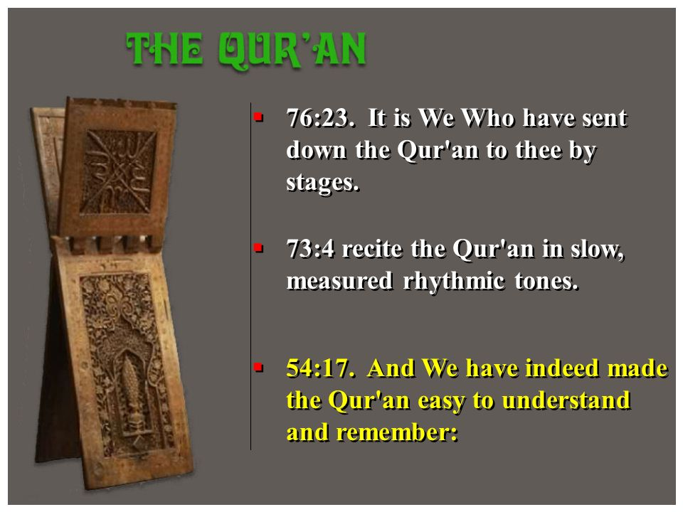 76:23. It is We Who have sent down the Qur an to thee by stages.