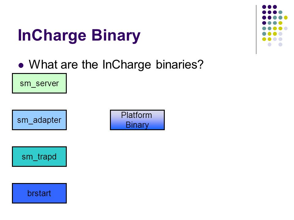 InCharge Binary What are the InCharge binaries sm_server Platform
