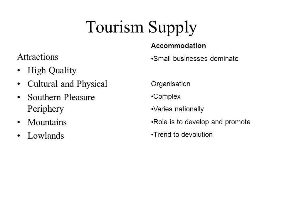 Tourism Supply Attractions High Quality Cultural and Physical