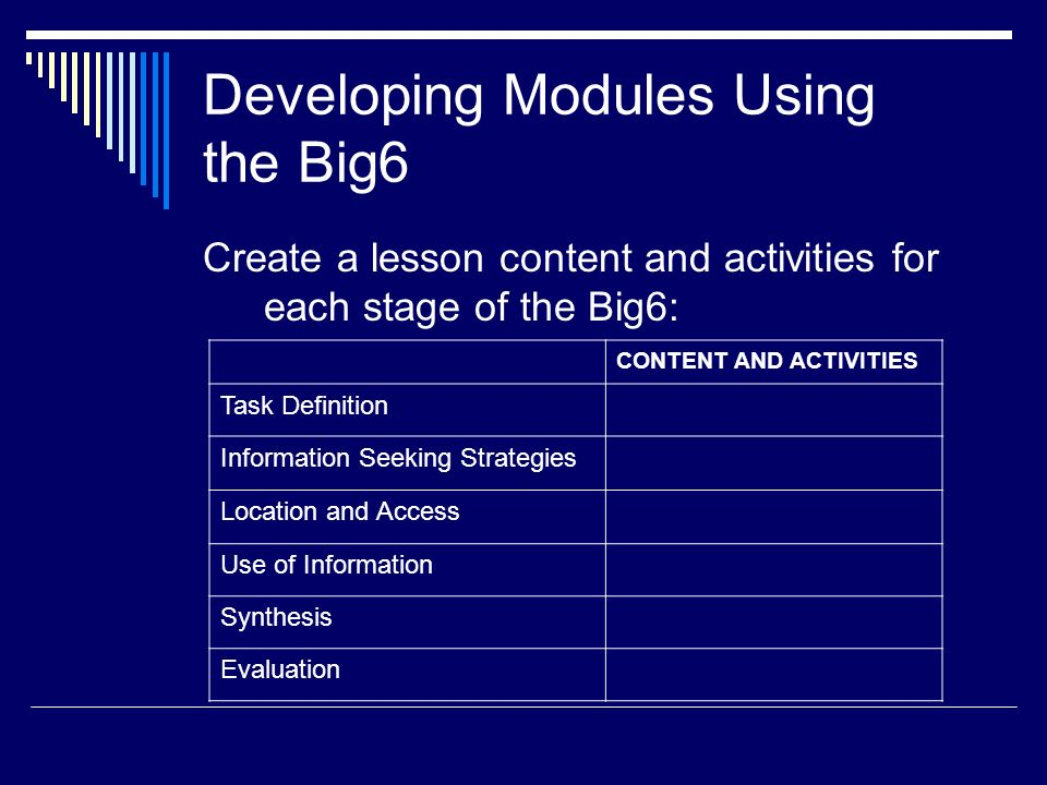 Developing Modules Using the Big6
