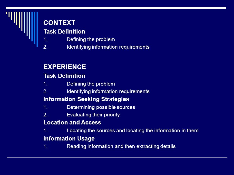 CONTEXT EXPERIENCE Task Definition Information Seeking Strategies